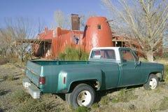 Oude pick-up van Rijksweg 54 dichtbij 3-rivieren Rotstekeningsplaats, het Beheer van het Dienstland, Zuidelijk New Mexico Royalty-vrije Stock Fotografie