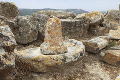 Oude pijler bij uitgravingen royalty-vrije stock fotografie