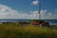 Oude pijler voor kleine boten Stock Afbeelding