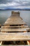Oude pijlerruïnes op de baai in Tasmanige stock foto's