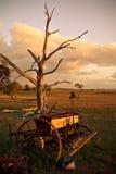 Oude ploeg op landbouwbedrijf bij zonsondergang Stock Foto's