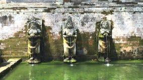 Oude pool van de Balinese tempel Goa Gajah, Olifantshol in Bali, Unesco-erfenis in Indonesië, 4k-lengtevideo stock videobeelden