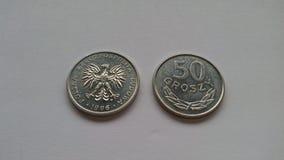 Oude Poolse muntstukken stock fotografie