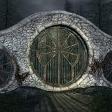 Oude poort in een donker bos - 3D illustratie royalty-vrije illustratie