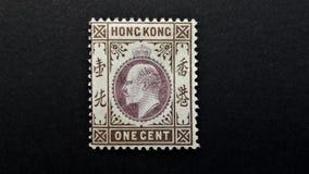 Oude postzegel van Hong Kong 1c stock afbeelding
