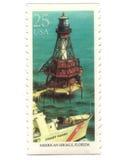 Oude postzegels van de V.S. met Vuurtoren royalty-vrije stock fotografie