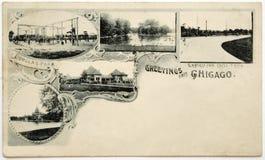 Oude prentbriefkaar Stock Afbeelding