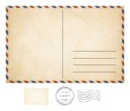 Oude prentbriefkaar en zegelinzameling Royalty-vrije Stock Fotografie