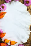 Oude prentbriefkaar omringde de giftendaling van de de herfstsamenstelling Royalty-vrije Stock Foto