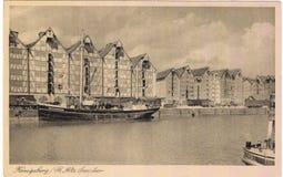Oude prentbriefkaar tussen 1905-1920 Königsberg Royalty-vrije Stock Foto's
