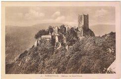 Oude prentbriefkaar tussen 1905-1920 Ribeauville Stock Foto
