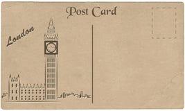 Oude prentbriefkaar van Londen met een tekening van Elizabeth Tower stylization royalty-vrije illustratie