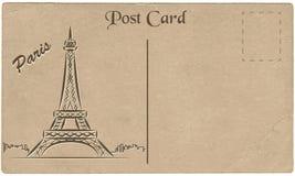 Oude prentbriefkaar van Parijs met een tekening van de Toren van Eiffel stylization royalty-vrije illustratie