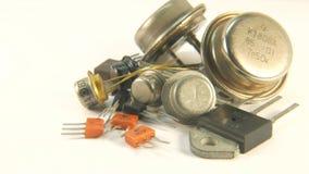 Oude Radiocomponententransistors, The Times van de USSR stock footage