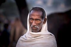 Oude Rajasthani-mens met tulband Festival-Pushkar Stock Afbeelding