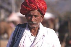 Oude Rajasthani-mens met tulband Festival-Pushkar royalty-vrije stock afbeelding
