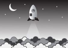 Oude raket op ruimte creatief idee Vector Illustratie vector illustratie