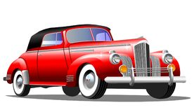 Oude retro auto op witte achtergrond stock afbeelding