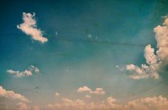Oude retro blauwe hemel Stock Foto