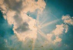 Oude retro blauwe hemel Stock Afbeeldingen