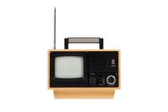 Oude retro draagbare gele televisie Stock Foto's