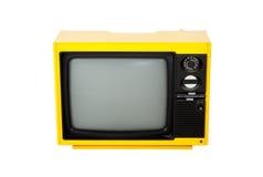 Oude retro gele televisie Stock Afbeeldingen