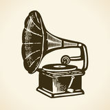 Oude retro grammofoon Royalty-vrije Stock Fotografie