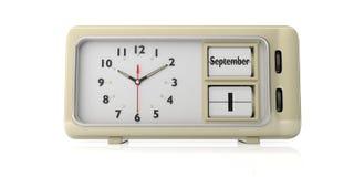 Oude retro wekker, 1 de datum van September, witte geïsoleerde achtergrond, 3D Illustratie vector illustratie