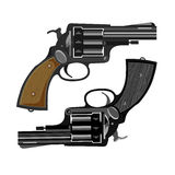 Oude revolvers, vectorillustratie royalty-vrije illustratie