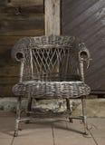 Oude rieten chair1 Stock Afbeelding