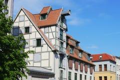 Oude rijtjeshuizen in Rostock Royalty-vrije Stock Foto's