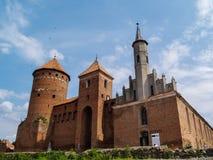 Oude riuns van het teutonic kasteel Reszel in Warmia, Polen stock foto's