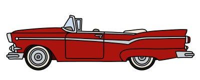 Oude rode Amerikaanse convertibel royalty-vrije illustratie