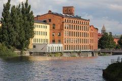 Oude rode baksteenfabriek. Industrieel landschap. Norrkoping. Zweden Royalty-vrije Stock Foto