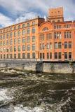 Oude rode baksteenfabriek. Industrieel landschap. Norrkoping. Zweden Royalty-vrije Stock Afbeelding