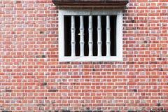 Oude rode bakstenen muur met venster Royalty-vrije Stock Fotografie