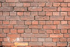 Oude rode bakstenen muurtextuur als achtergrond stock foto
