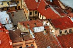 oude rode daken royalty-vrije stock foto's