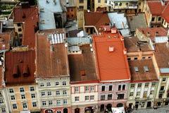oude rode daken stock afbeelding
