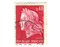 Oude rode Franse zegel royalty-vrije stock foto's