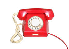 Oude rode geïsoleerde telefoon Stock Foto