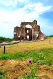 Oude Rode kerkruïnes Stock Afbeeldingen