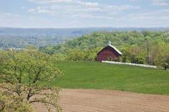 Oude rode schuur, bomen en gebieden in het platteland van Iowa Stock Foto's