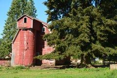 Oude Rode Schuur met Silo dichtbij Zandig, Oregon Royalty-vrije Stock Foto's