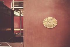 Oude rode treinwagen Royalty-vrije Stock Foto's