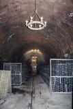 Oude rode wijnflessen die in een wijnkelder verouderen Oude kelder voor wijnopslag stock fotografie