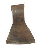 Oude roestige bijl zonder handvat dat op witte achtergrond wordt geïsoleerd Stock Afbeelding