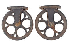 Oude roestige katrol twee royalty-vrije stock afbeeldingen