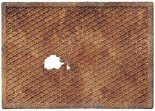 Oude roestige metaalplaat met een gat Stock Foto