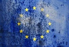 Oude roestige metaaltextuur die de vlag van de Europese Unie afschilderen Stock Afbeelding